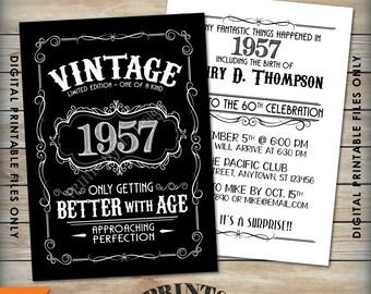 "Vintage Birthday Invitation, Aged to Perfection Birthday Invite, Better with Age, Whiskey Theme Party, 5x7"" Black & White PRINTABLE Files"