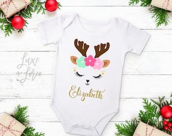 Reindeer Baby Girl Christmas Outfit Personalized Name, Deer Christmas Outfit, Toddler Christmas Outfit, Christmas Outfit, Christmas Shirt
