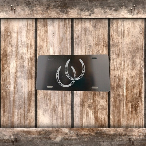Black License Plate - Silver Horse Shoes