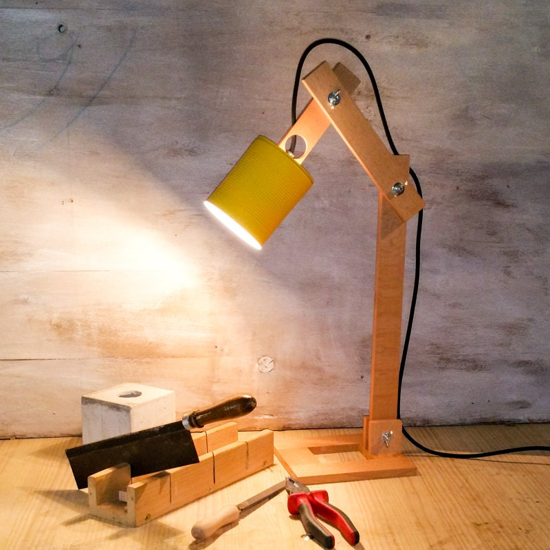 Yellow desk lamp recycled cans recycle can lamps lighting ampliar aloadofball Image collections