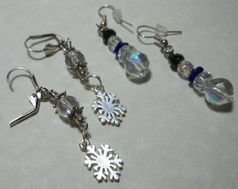 Snowflake and Snowman Earrings