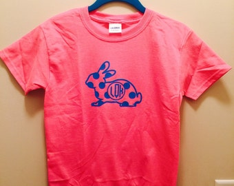 easter shirt  monogram easter bunny kids shirt pink