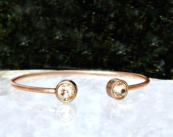 B.BéNI Light Peach Crystal & Rose Gold Open Cuff Brass Adjustable Bangle Bracelet