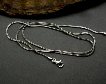 Chain sterling silver oxidized foxtail chain, bali woven chain, braided black chain necklace, rustic chain for pendants
