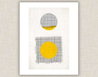 Yellow Circle, Geometric Print, abstract art, geometric wall art, abstract poster, minimalist art, mid century modern, yellow black decor