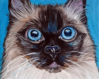 Custom Pet Portrait 5x5inch Painting Acrylic Original Painting Gift Art Cat Portrait