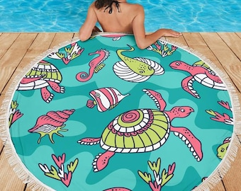 Tropical Sea Animals/Turtles/Tropical Fish/Blanket/Blankets/Beach/Pool/Throw/Picnic/Towel/Round/Tablecloth/Gift