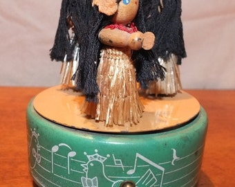 Vintage Metal Wind Up Hula Dancers Music Box
