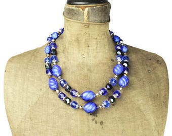West Germany Blue Bead Necklace, Black and Blue Bead Necklace, West Germany Necklace, Long Blue Necklace