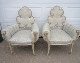 PICKUP ONLY Vintage 1950s Hollywood Regency Sensational PAIR of Arm Chairs with Exquisite Silver Metallic Upholstery