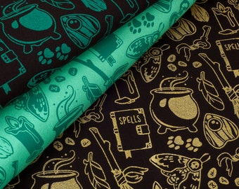 Modern Witch Fabric Collection - Witchcraft Series - Witchy Supernatural Printed Fabric - 100% Cotton Fabric