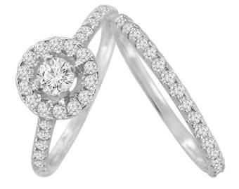0.80ct Halo Solitaire Diamond 14k White Gold Bridal Set Engagement & Wedding Rings