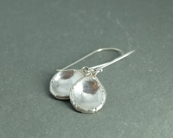 Rustic Fine Silver Drop Earrings