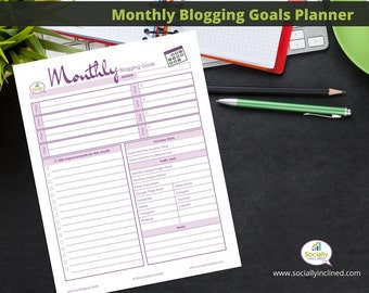 "Blog Planner - Blog Post Planner & Organizer - Printable - Monthly version 1 page 8.5 x 11"" Blog Kit"