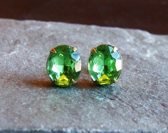 Peridot earrings, green glass studs, light green jewel posts, bridal earrings, estate style earrings, unique holiday gift ideas for her