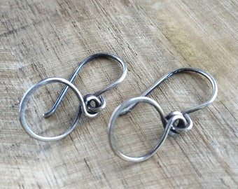Hammered Silver Dangle Hoops