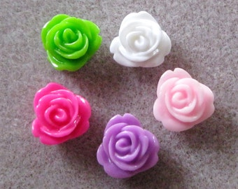 Drilled Resin Rose Flower Beads With Hole Small You Choose Your Colors 13mm 945D