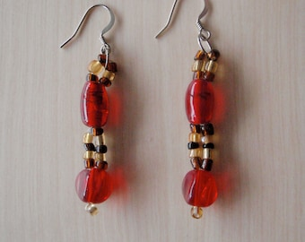 Brown and red earrings