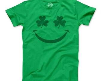 Youth Smiling Shamrock Shirt, Irish Shamrock Top, Four Leaf Clover Kids Top, Funny Irish Shirts, Kids St Patricks day shirt, Irish Youth Tee