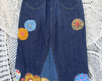Ladies Flower Power Vintage Denim Skirt - Size S