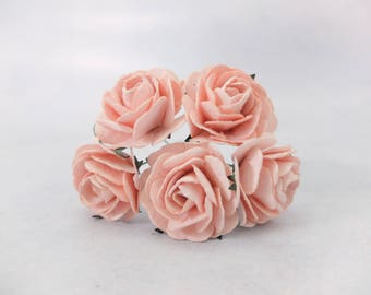 5 35mm blush pink mulberry roses - paper flowers (Style 1)