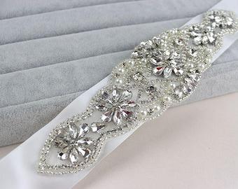 Bridal Belt/Bridal Sash/Wedding Dress Belt/Wedding Belt/Rhinestone Applique/Wedding Sash/Rhinestone Belt/Beaded Belt/RA-03