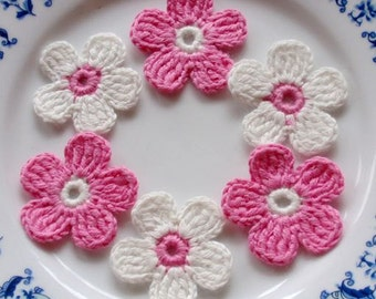 6 Crochet  Flowers In Off White, Pink  YH - 027-02