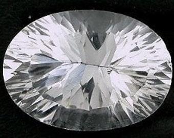 14x10 laser concave oval cut white topaz  gem gemstone