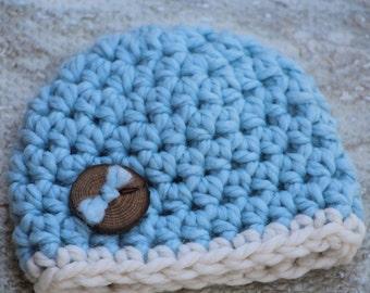 Bébé garçon, cadeau bébé, chapeau bébé garçon, cadeau de shower de bébé, crochet chapeau bébé, accessoire photo nouveau-né, nouveau cadeau de bébé, chapeau nouveau-né, chapeau bleu Ivoire