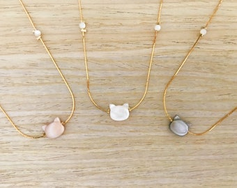 Cat Head necklace mother of Pearl gold-plated and genuine / / Cat Head / Necklace / Jewel for her / / Cat Lover / Gift for her.