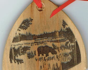 Grazing Moose Ornament, Maine Hardwood