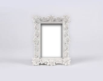 White Baroque Frame, Antique Edwardian Frame, White Ornate Frame, Distressed Frame, Shabby Chic Wedding, French Chic Frame, Baby Nursery