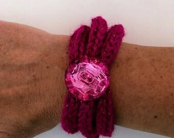 Hot Pink Knit Cord Bracelet