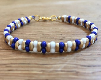 Blue, white, and gold seed bead bracelet