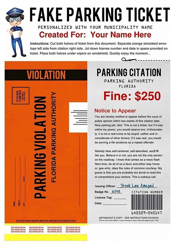 PDF   Fake Parking Ticket   What A Great Way To Play A Practical Joke On  Someone  Fake Ticket Maker