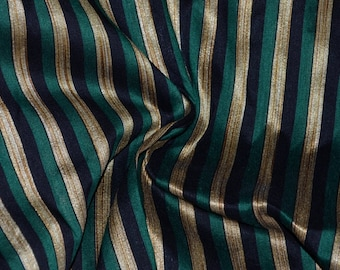 Green, Black and Gold stripes on hand-loom cotton silk, One yard