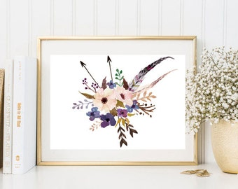 Watercolor painting print flowers feather arrows pink purple watercolor wall art print printable floral print watercolor poster home decor