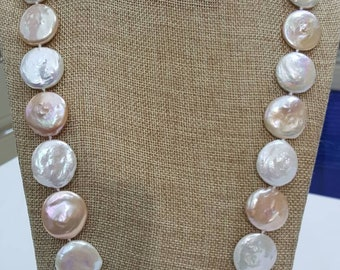 Genuine Freshwater Natural Color Jumbo Coin Pearl Necklace