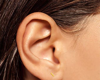 Gold Bar Earrings, Gold Line Earrings, Gold Staple Earrings, Tiny Bar Earrings, Thin Line Earrings, Tiny Line Earrings, Tiny Studs