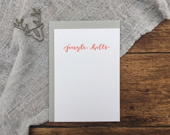 Jingle Bells Red Christmas Letterpress Card. Christmas Card. Greeting Card. Letterpress. Red Christmas Card. Simple Card.