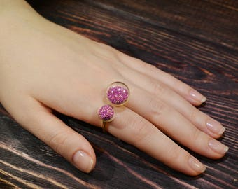Glass ring / lampwork ring / adjustable ring / ping ring / murano glass / double ring