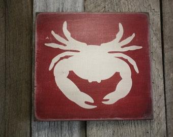 Crab Sign, Crab Decor, Coastal Decor,  Beach Decor, Wooden Beach Sign, Nautical Decor