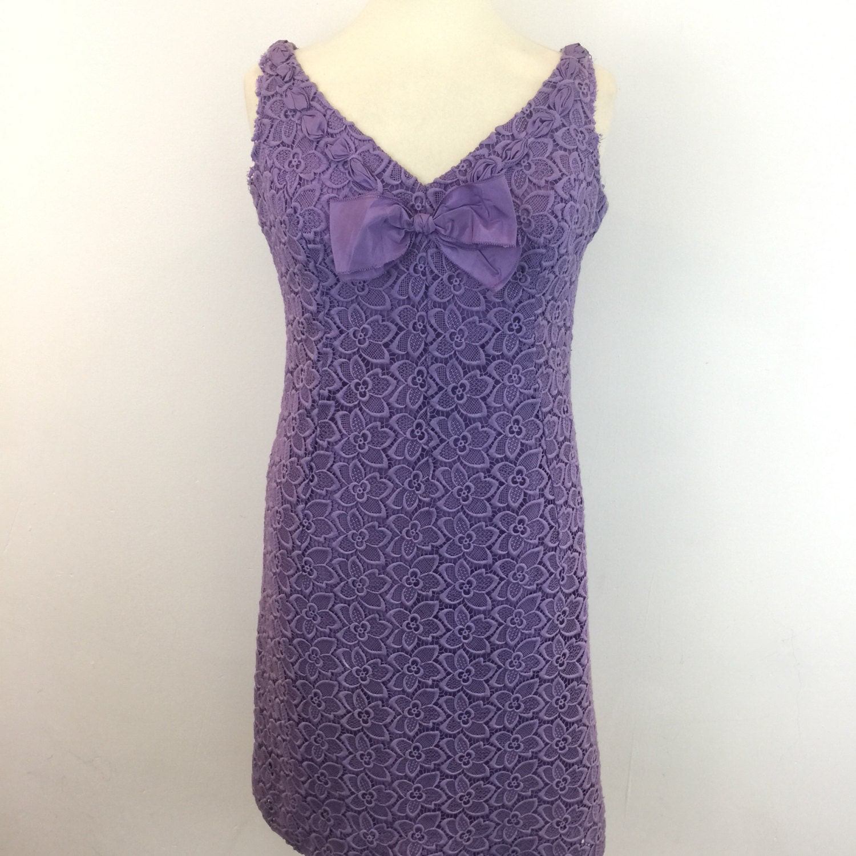 Vintage lace dress lavender purple shift evening gown floral lacy ...