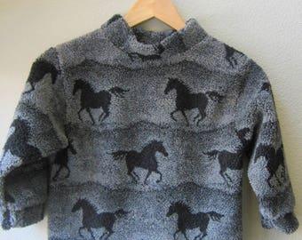 Fleece Pullover Horse Print Unisex Gender Neutral Grey Blue Running Horses Size 4  Size 5