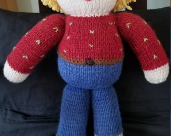 Knitted little man doll