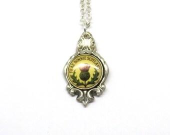 Scotland necklace, Frae Bonnie Scotland necklace, scottish necklace, thistle necklace