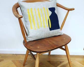Original screen printed linen cushion, midcentury inspired design.