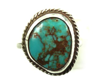Ring, Turquoise, Sterling Silver Ring, Navajo Turquoise Ring, Silver Ring, Old Pawn Jewelry, Turquoise Jewelry, Boho Ring, Statement, Rings