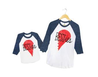 Besties Raglan Tees - Pair of Mom and Baby Crew Neck 3/4 Sleeve Raglan Tshirts in Heather Navy - Mens / Womens / Infant Baby and Kids Sizes