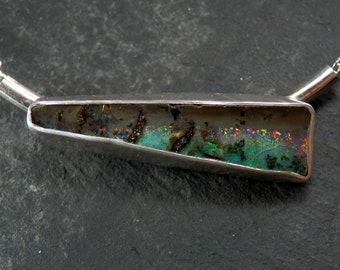 Australian boulder opal necklace / opal pendant / opal jewelry / October birthstone / boulder opal / rainbow opal / black opal / gift